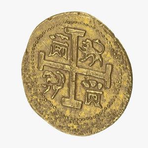 3D gold coin 01 model