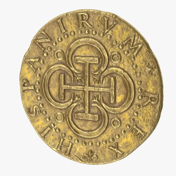 gold coin 02 3D model