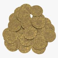 gold coins pile 3D