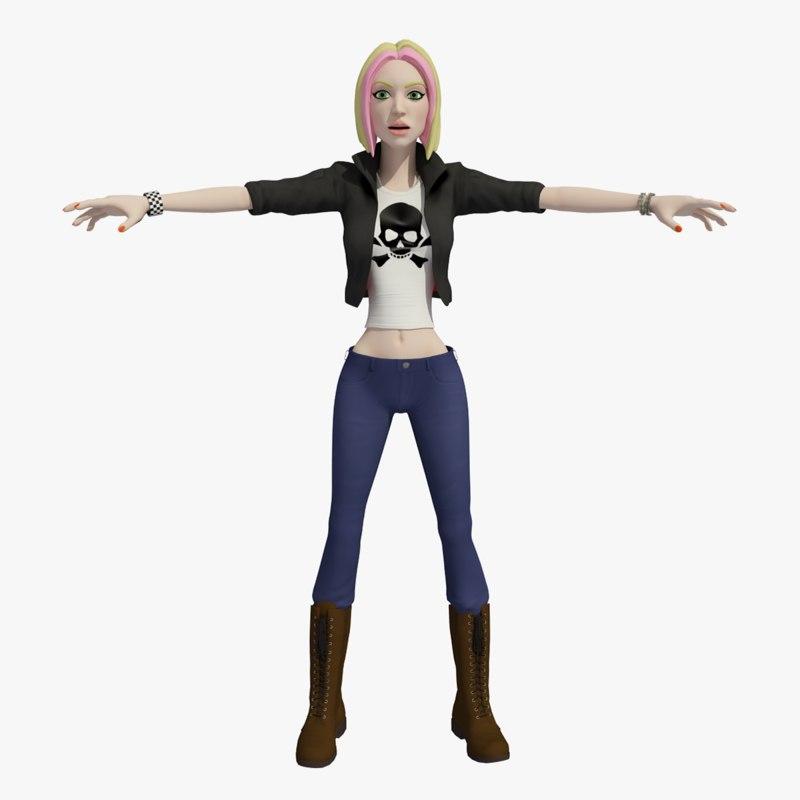3D model cartoon female