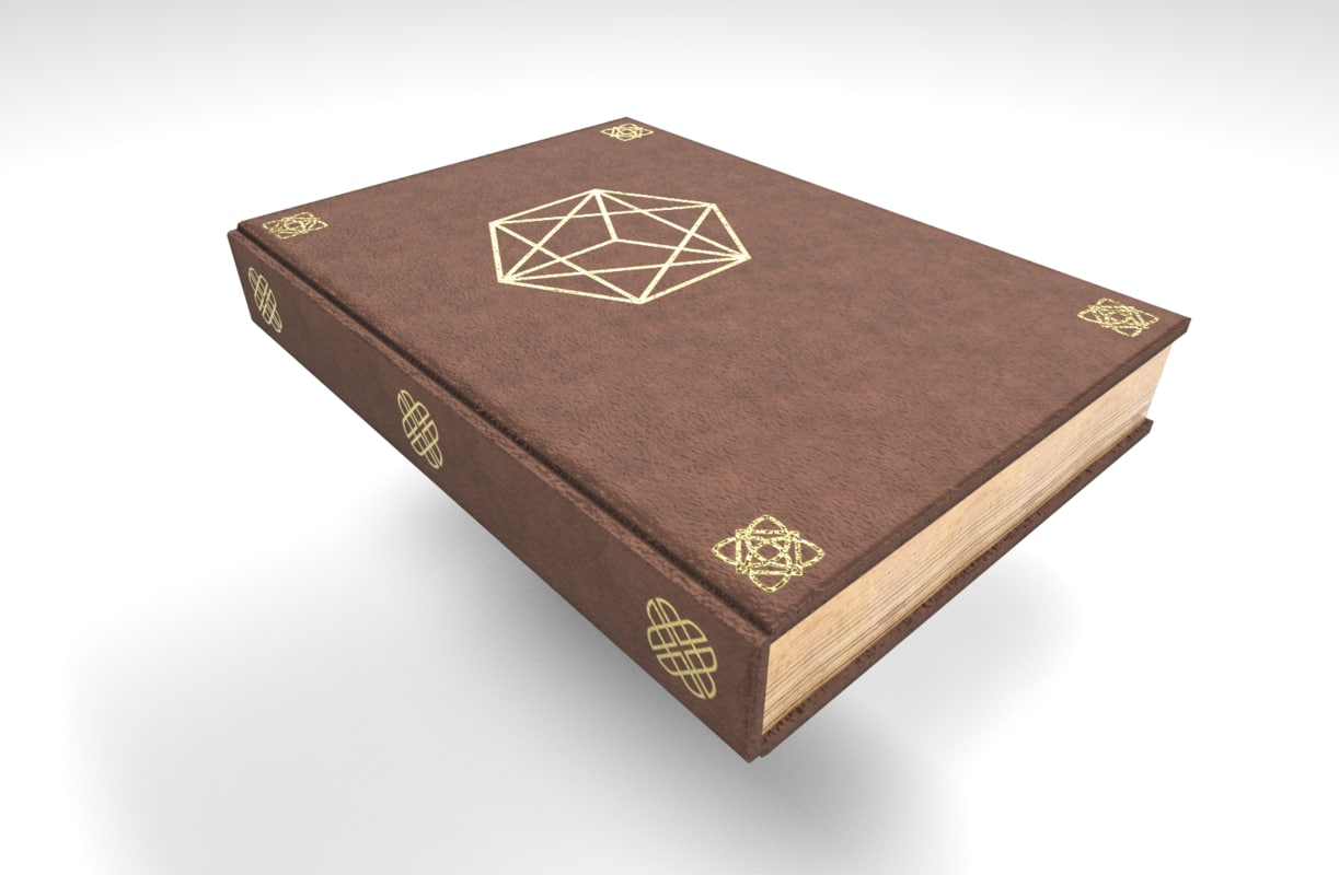 3D old leather book