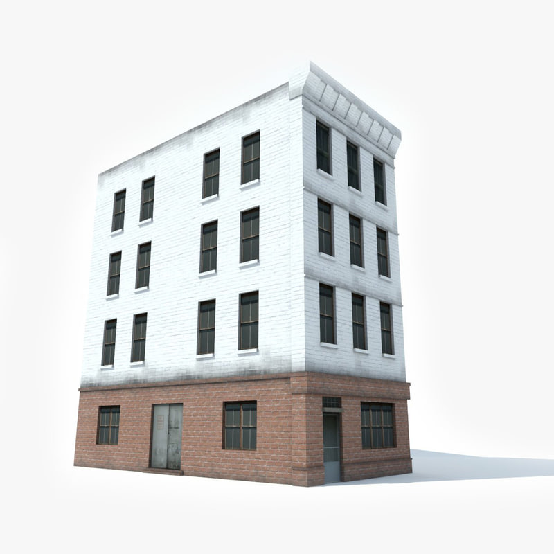 apartment brick building 3D model