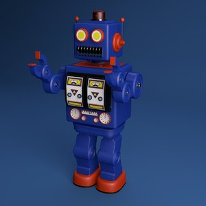 tin robot toy 3D model