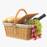 3D model picnic basket grapes