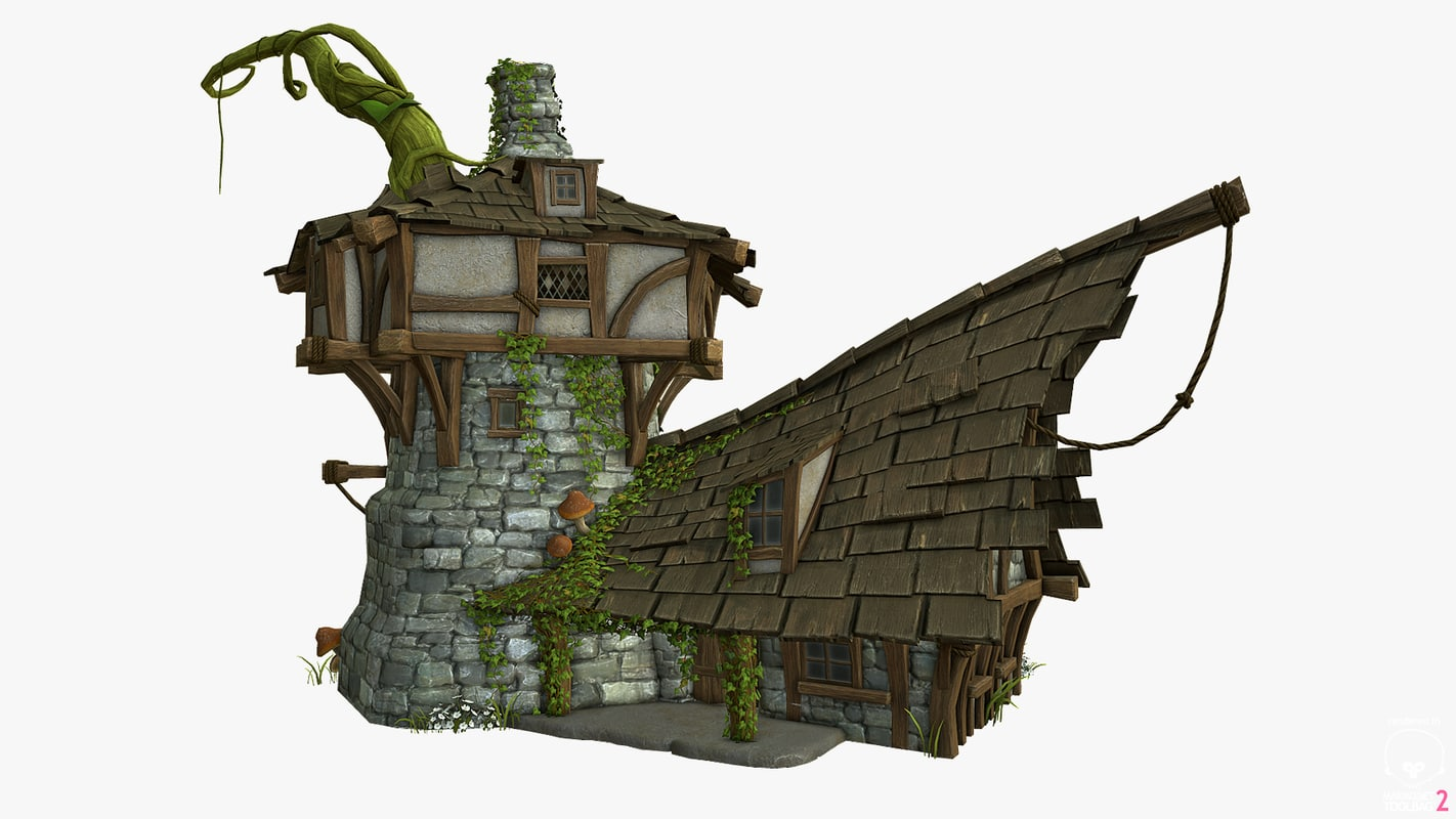 3D stylized medieval house model