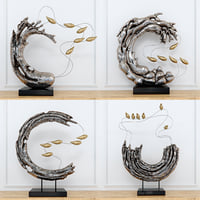Abstract resin sculpture with birds