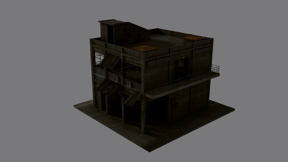 3D military war buildings props