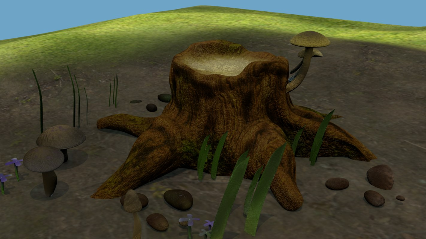 old tree cutted trunk 3D