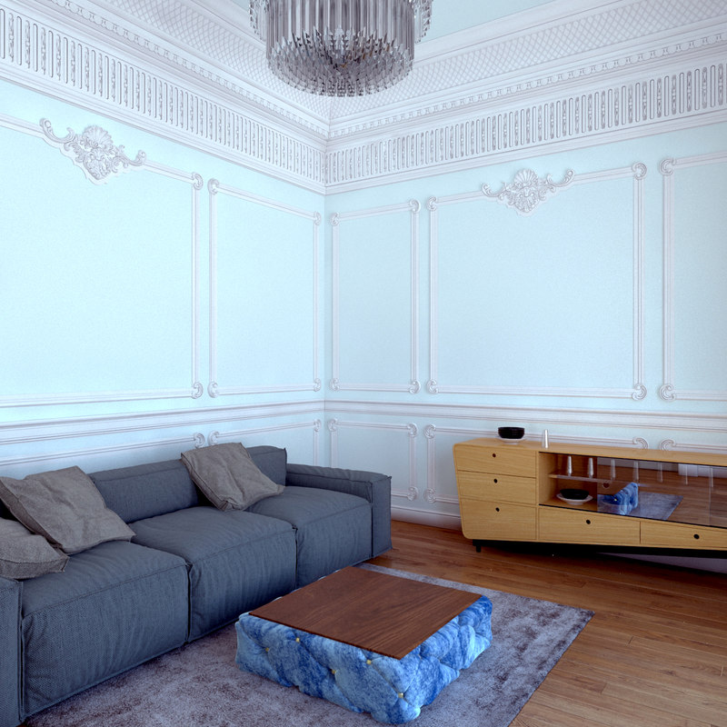 3D classic living room model