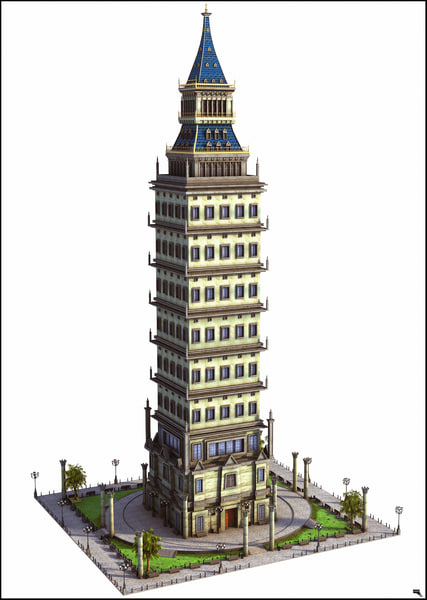 retro skyscraper sky model
