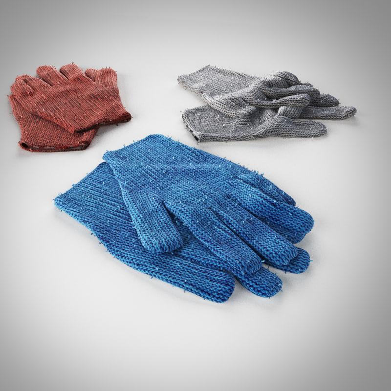 old wool gloves 3D model