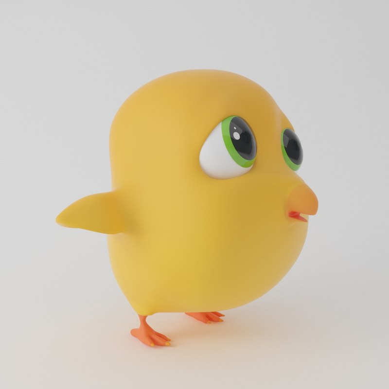 3D model chick cartoon toon