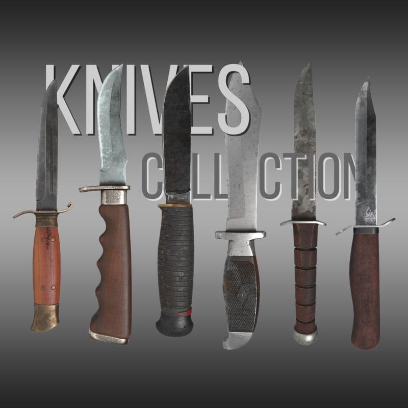 3D model knives pbr
