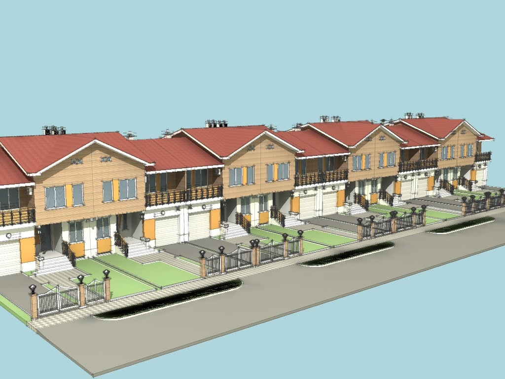 3D town house garage model