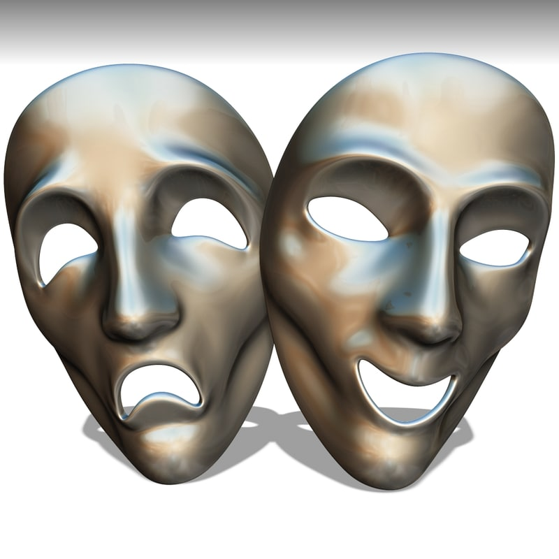 masks comedy drama 3D model