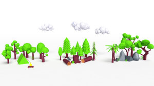 3D trees grasses mushroom model