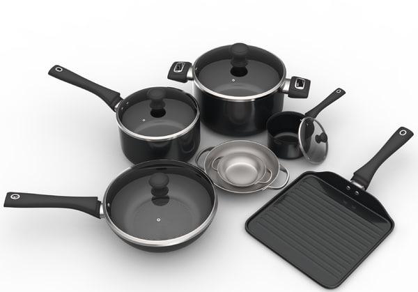 cooking pots set 3D model