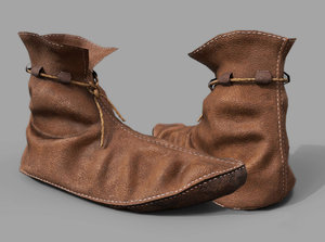 leather medieval shoe 3D