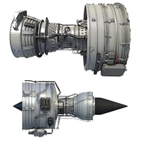 turbofan aircraft engines 3D model