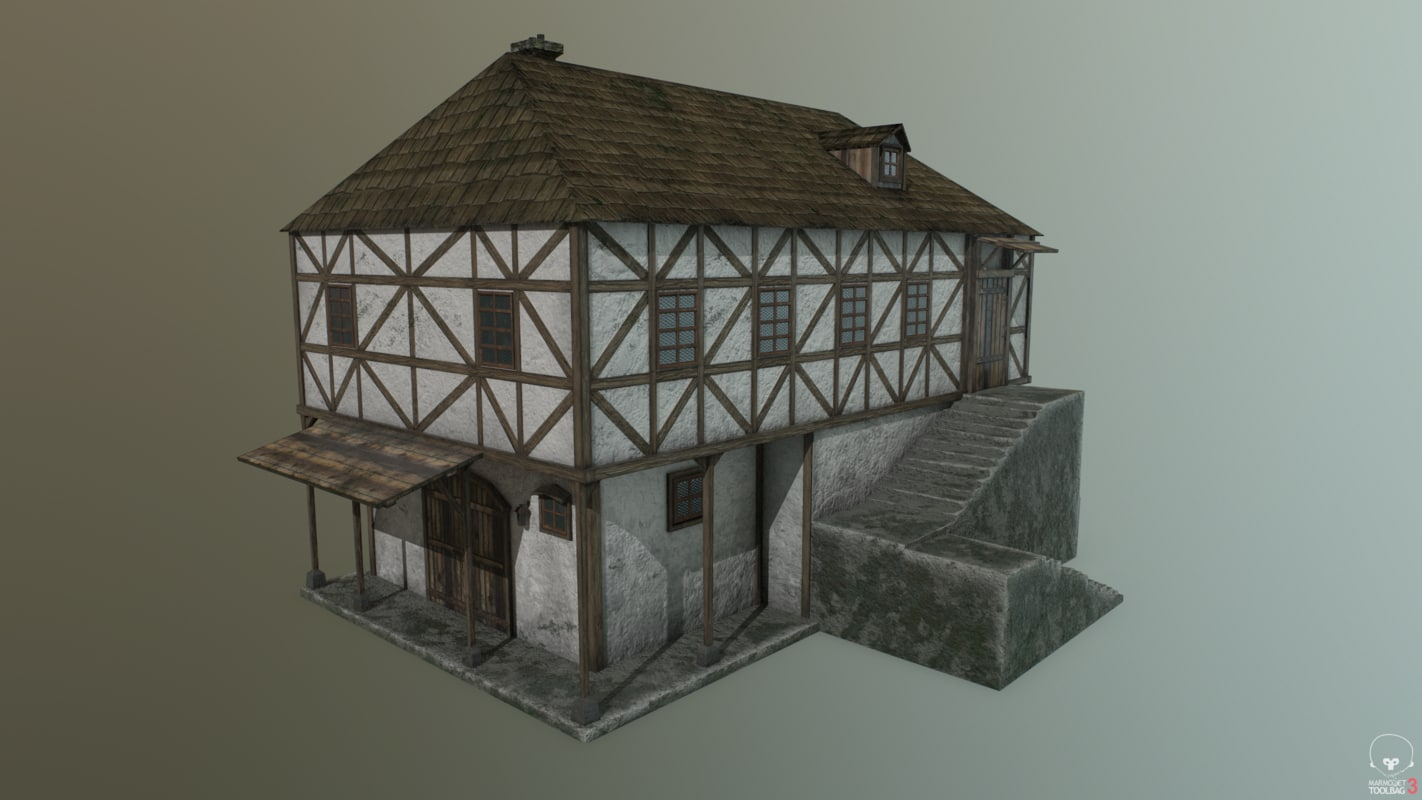 3D pbr medieval house c model