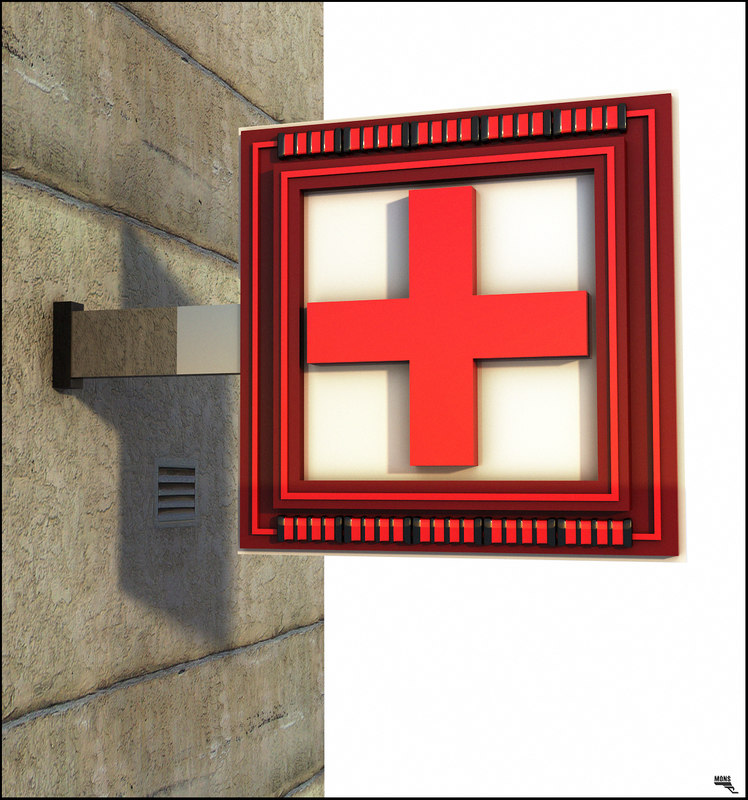 3D model pharmacy sign