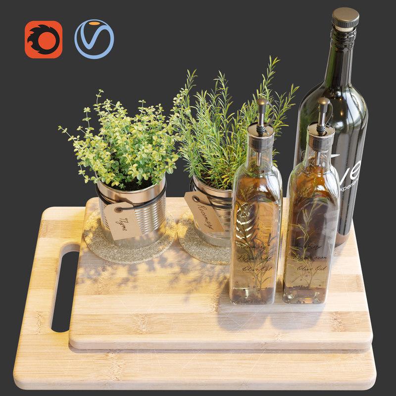 3D model kitchen set 1 corona