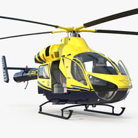 Police Helicopter MD 902 Explorer Rigged 3D Model