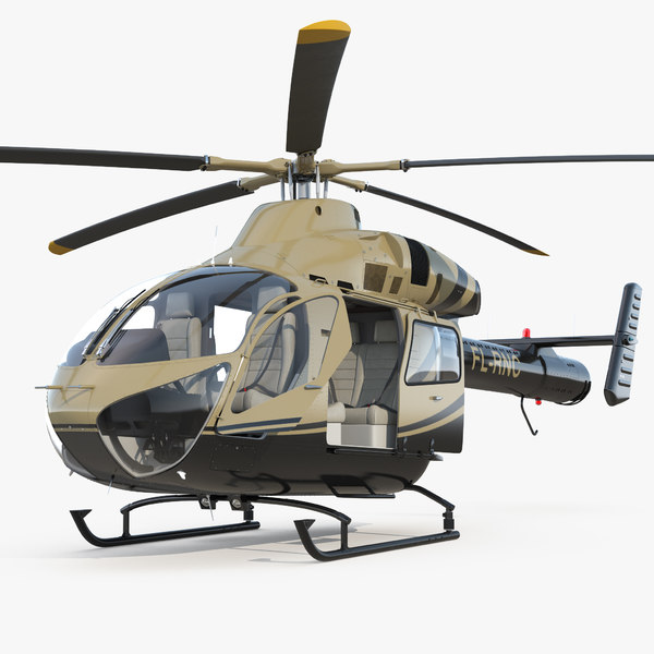 3D model light private jet helicopter
