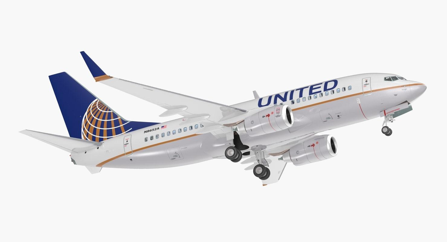 3D boeing 737-700 interior united airlines