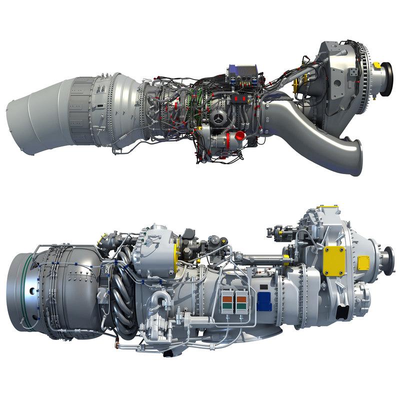 3D turboprop engine model