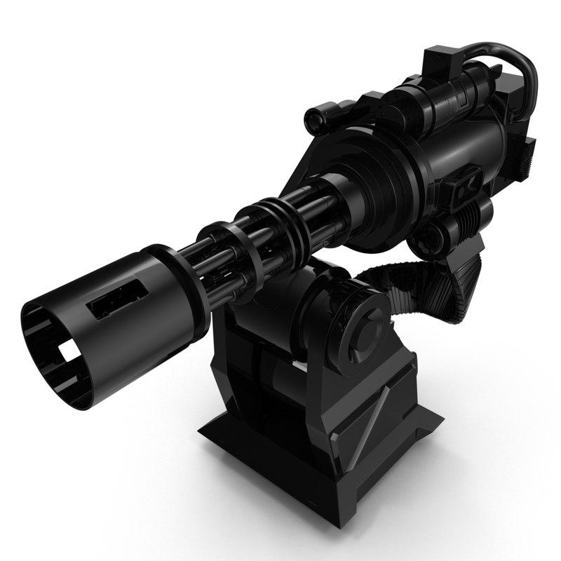 3D model minigun turret