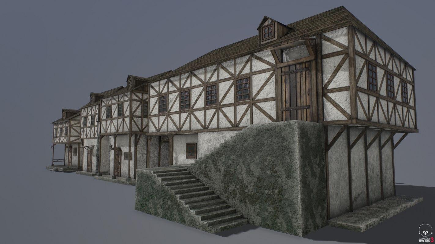 medieval houses pack 3D model