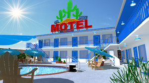motel swimming pool 3D model