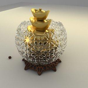 chinese gold ingot 3D