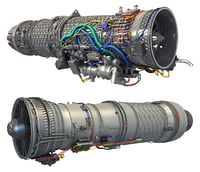 3D military turbofan engine afterburning
