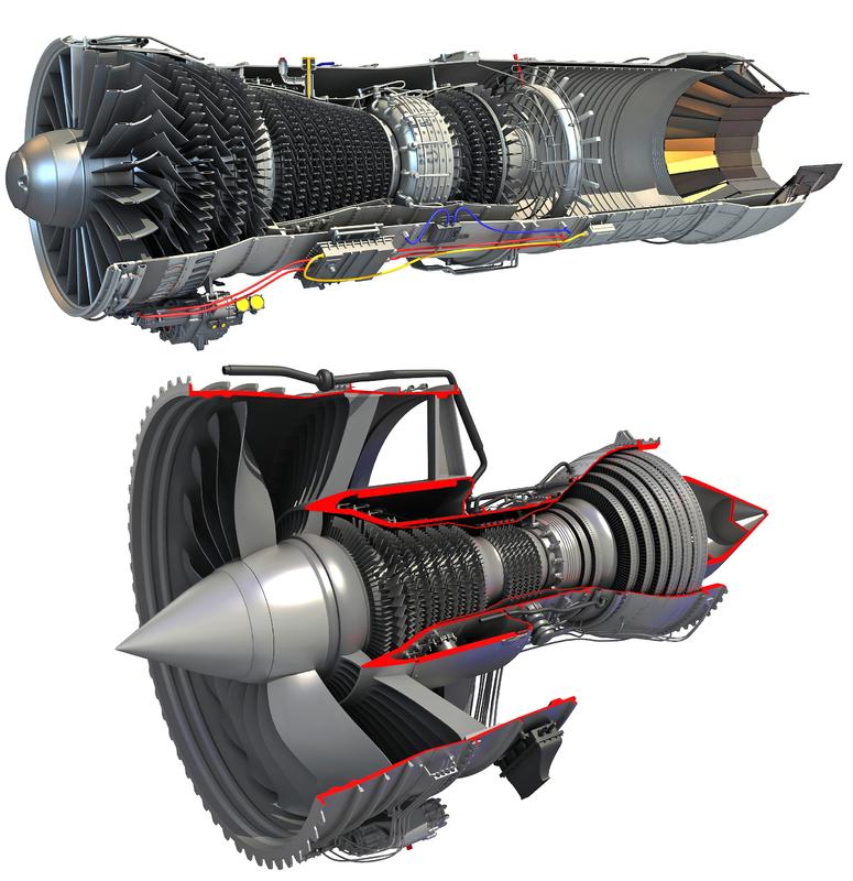 3D model sectioned turbojet turbofan engine