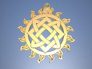 3D slavic amulet ladinec model