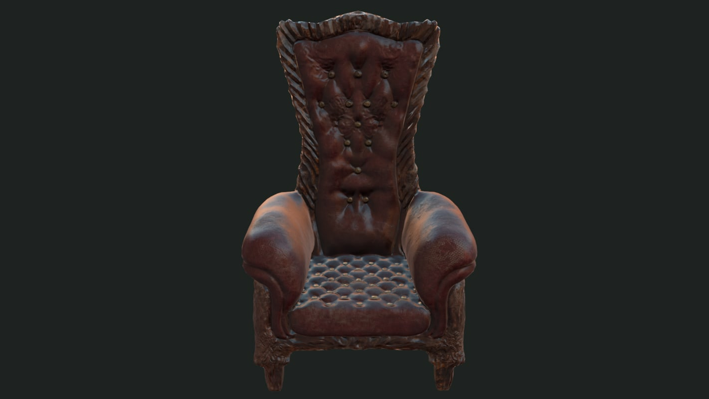 3D distressed victorian chair model