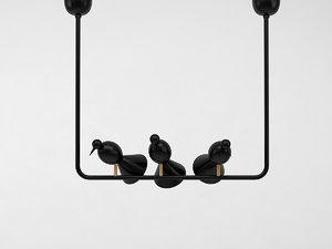 3D alouette ceiling 3 birds