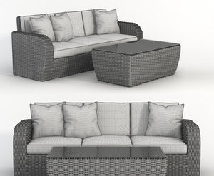 3D model sofa wicker rattan coffee table