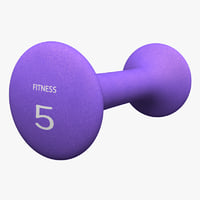 neoprene dumbbell purple 3D