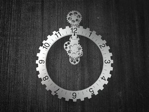 3D big hour wheel clock