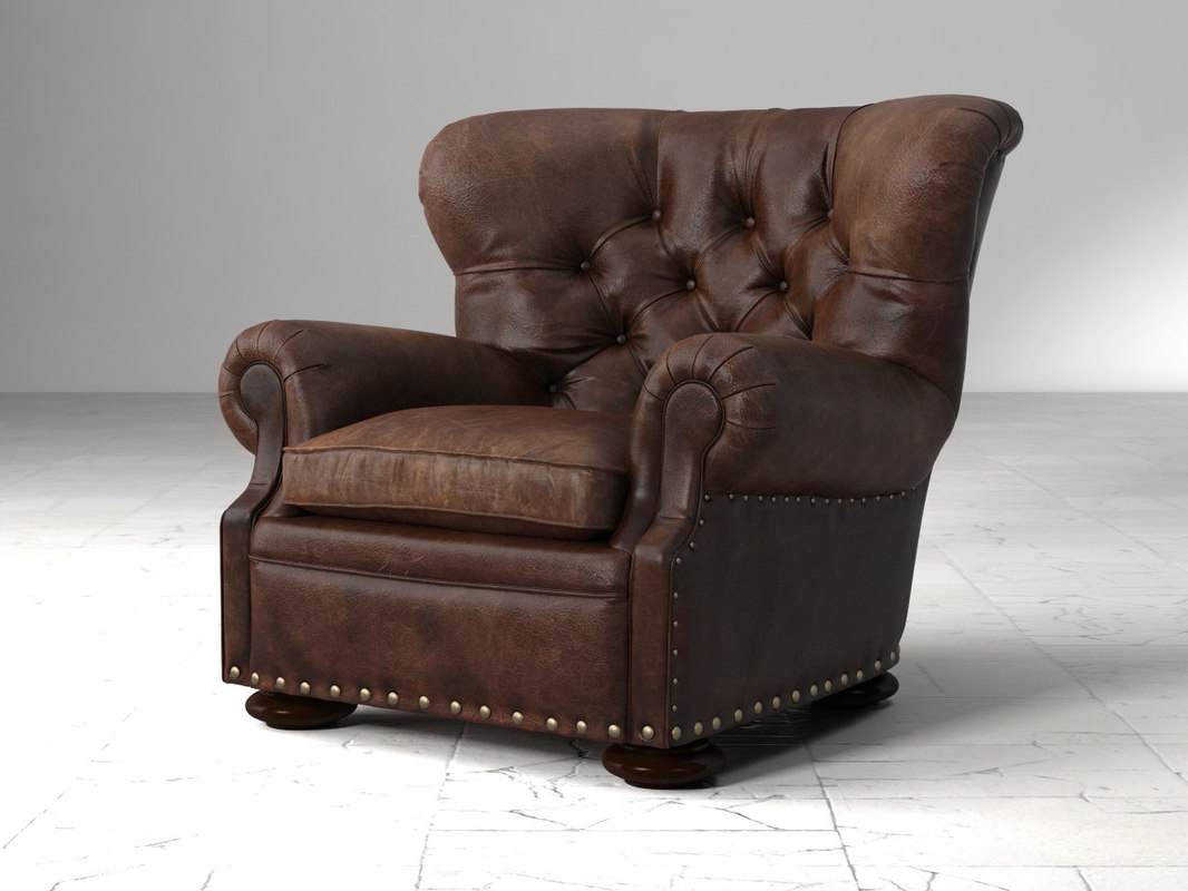 3D churchill leather chair nailheads model