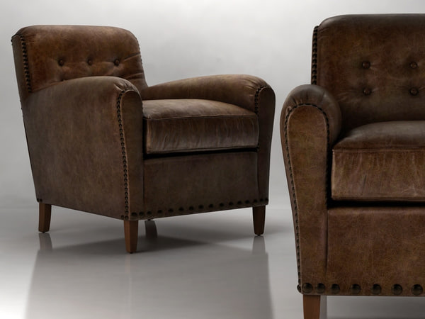 3D hyde leather club chair