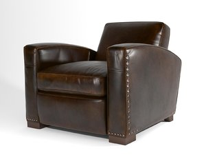 3D library leather chair