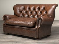 3D 5 churchill leather sofa