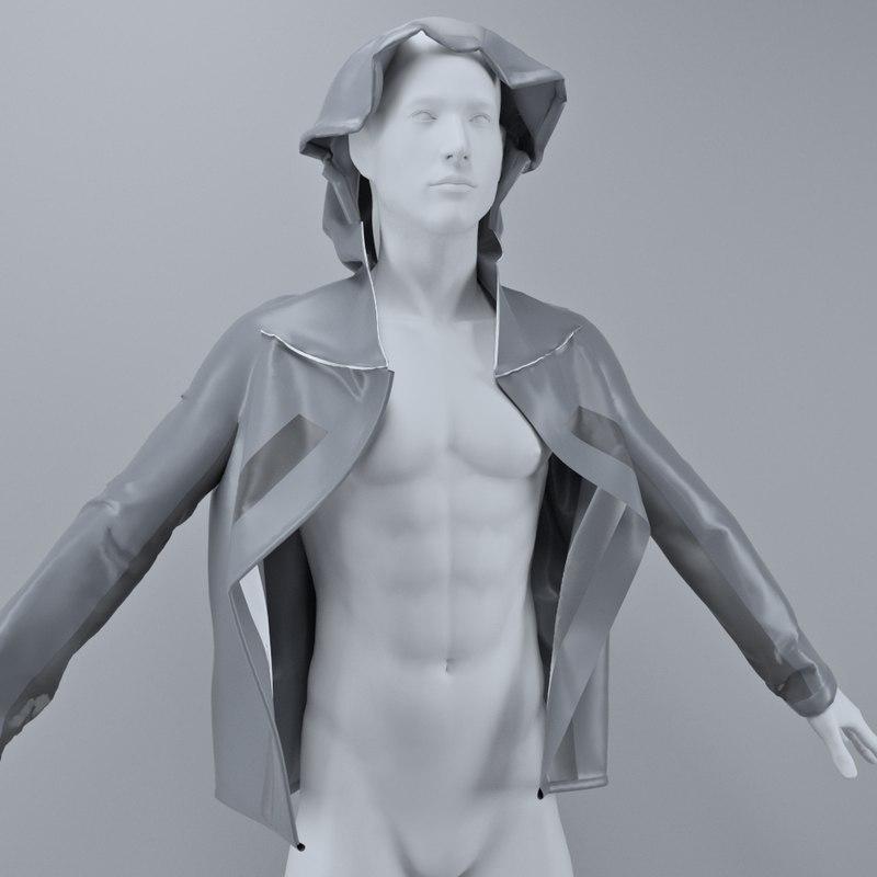 3D model running jacket hood