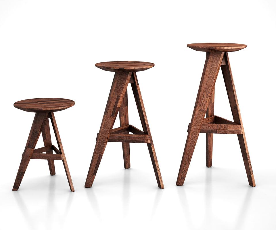 3D piece stool bar
