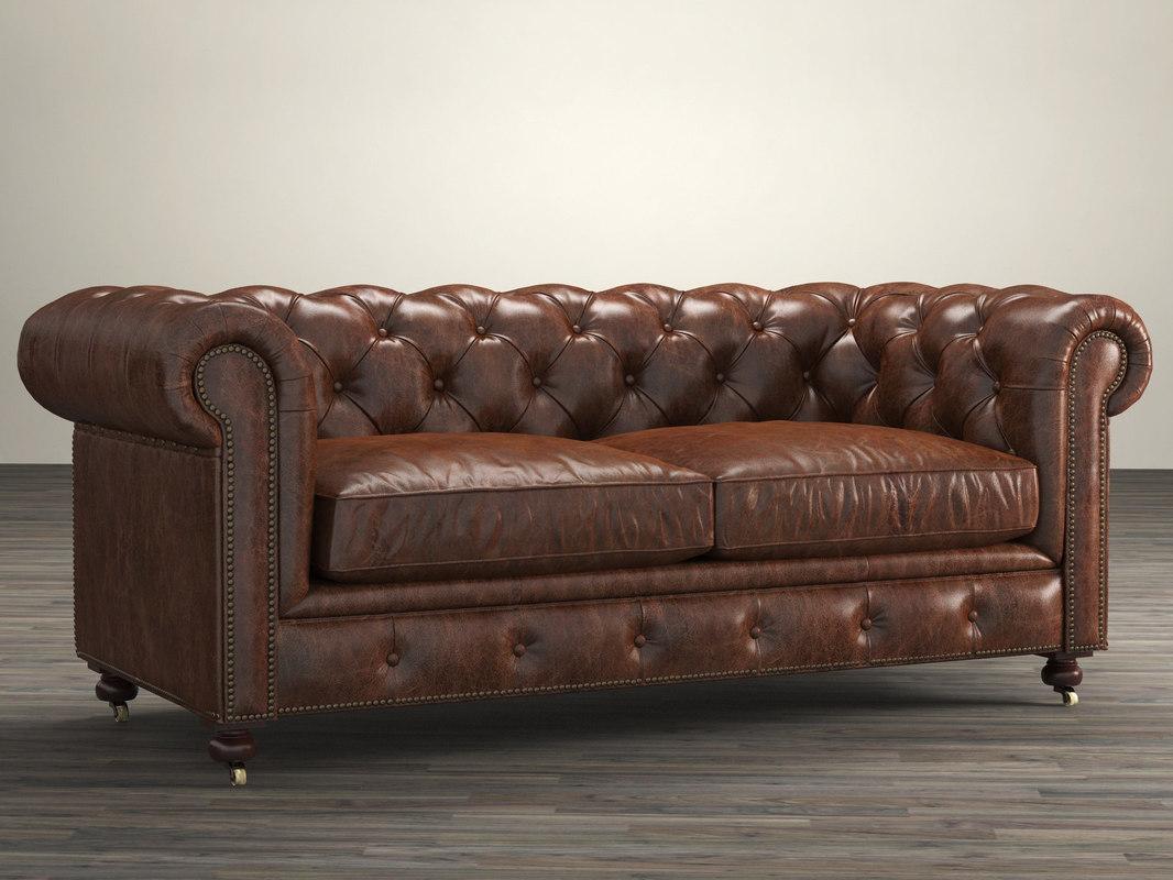 72 petite kensington leather sofa 3D