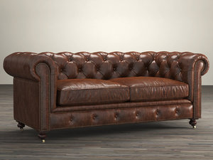 72 petite kensington leather sofa 3D